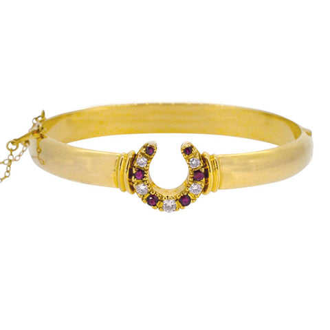 Ruby & Diamond Horse Shoe Bangle