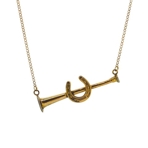 Horse Shoe on Hunting Horn Necklace
