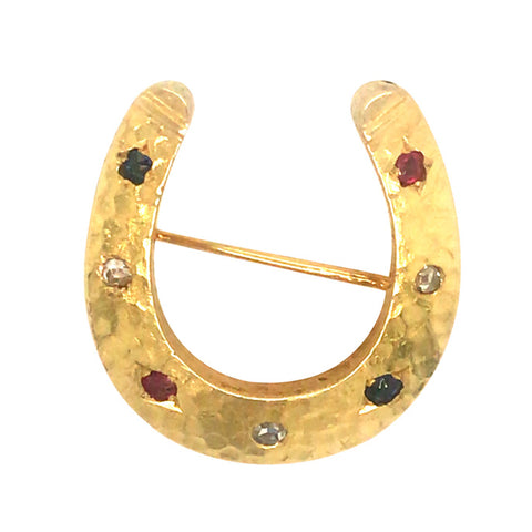 Gemstone Set Horse Shoe Brooch