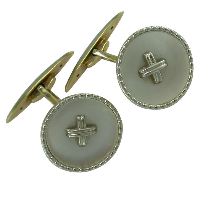 Vintage Pearl Button Cuff-Links