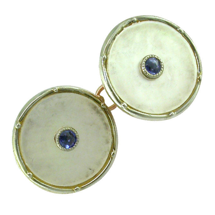 Vintage Pearl and Sapphire Cuff-Links