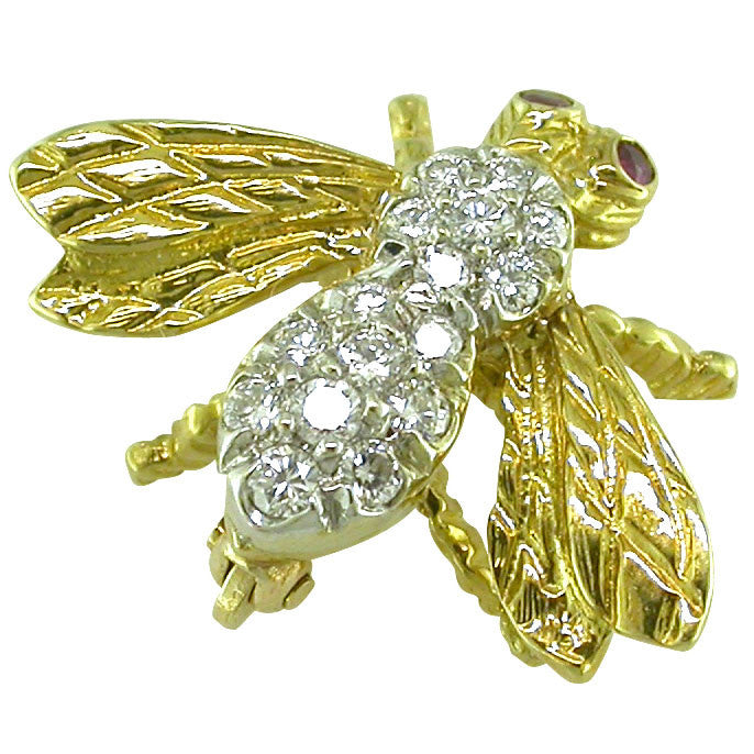 Diamond and Gold Bee Vintage Brooch
