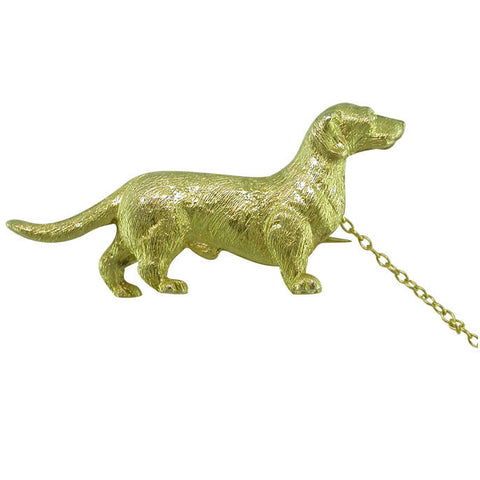 Hallmarked Gold Dog Brooch
