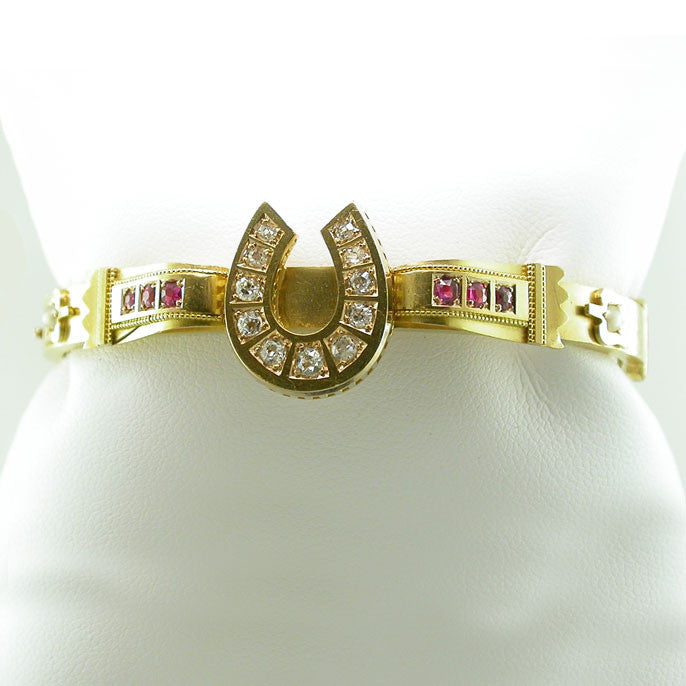 Victorian Diamond and Ruby Horse Shoe Bangle