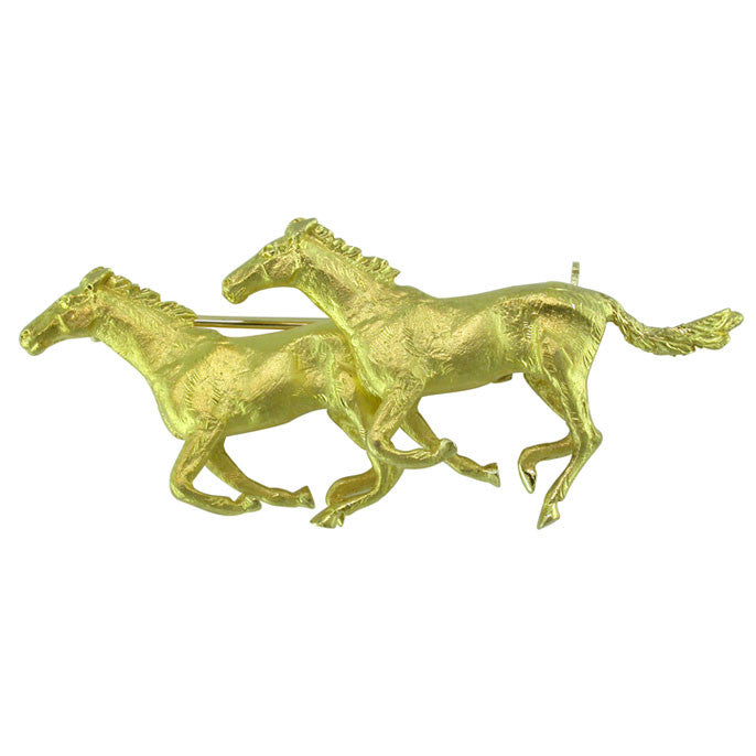 Yellow Gold Vintage Horse Brooch