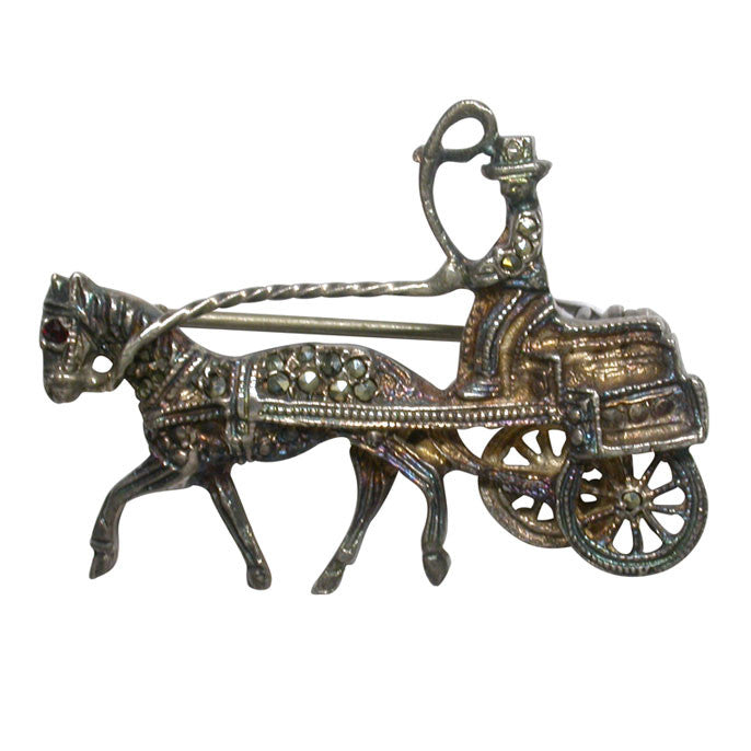 Vintage Pony and Carriage Brooch