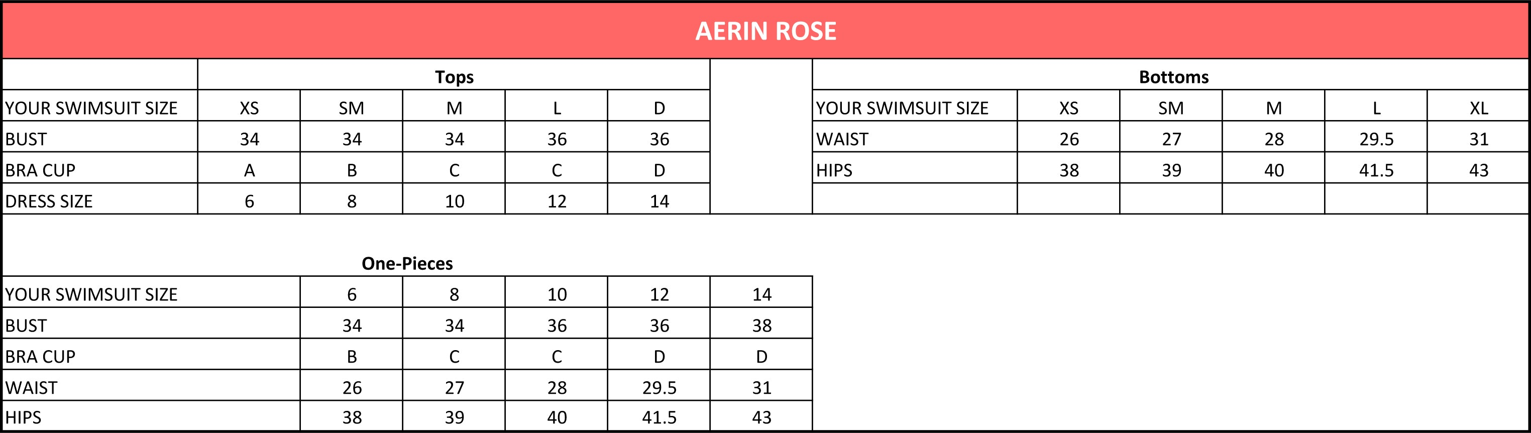 Aerin Rose Size Chart
