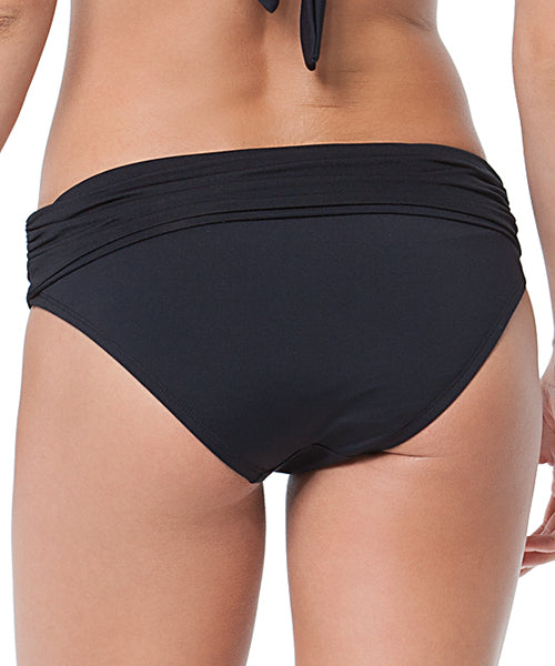 Anne Cole Signature Swimwear High Waist Convertible Shirred Bikini Pant Bottom - Black