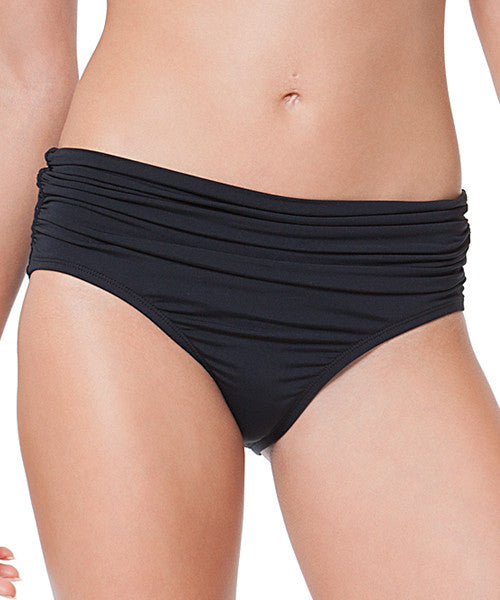Anne Cole Signature Swimwear High Waist Convertible Shirred Bikini Pant Bottom - Black - Beachbliss Swimwear & Apparel - 1