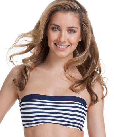 Anne Cole - Stripe Halter Bandeau Bra Bikini Top - Beachbliss Swimwear & Apparel - 1