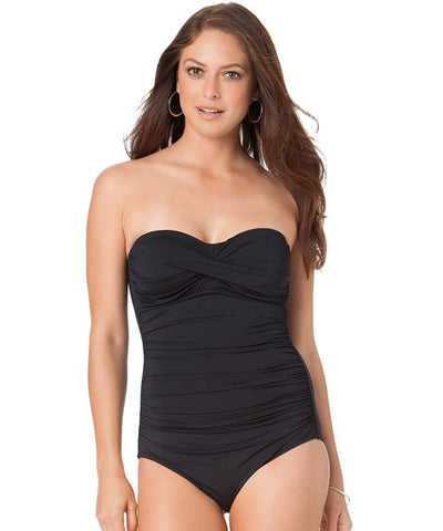 Anne Cole Signature Color Blast Twist Front One Piece Swimsuit - Black - Beachbliss Swimwear & Apparel - 1