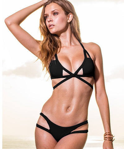 Sauvage Aurora - Cutout Bikini Bottom in Black