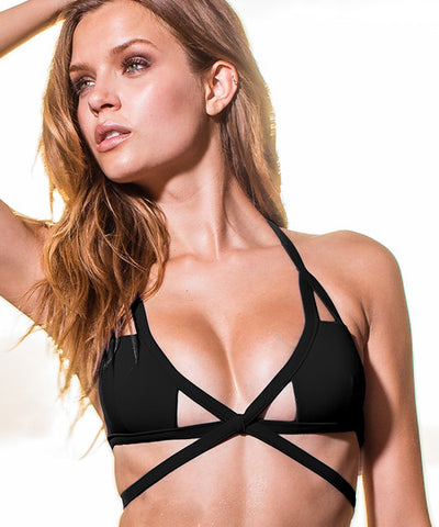Sauvage Aurora - Cutout Bikini Top in Black