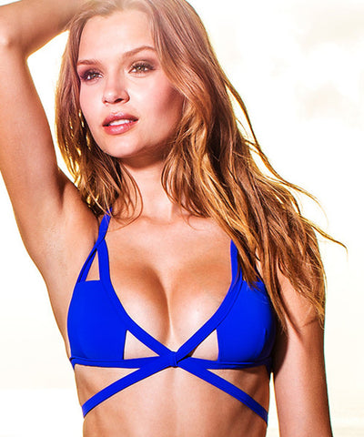 Sauvage Aurora - Cutout Bikini Top in Cobalt