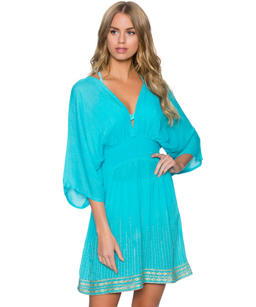 Sunsets Separates Aqua Sky - Kayla Kimono Cover Up Dress
