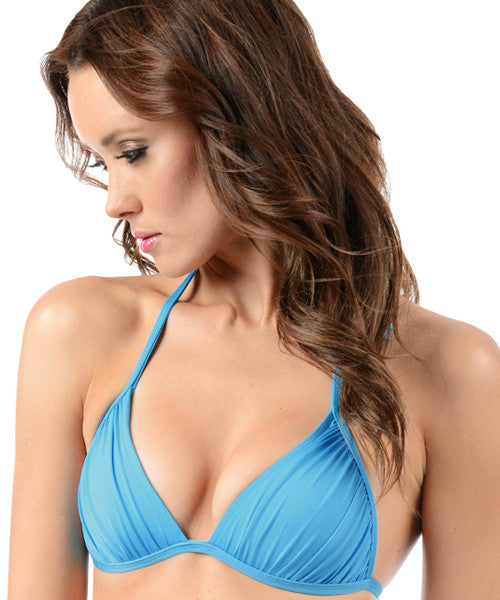 Voda Swim Envy Push Up Ruched String Bikini Top in Aquarius - Beachbliss Swimwear & Apparel - 1