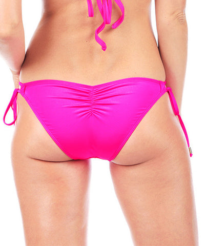Voda Swim Double String Bikini Bottom in Bright Pink