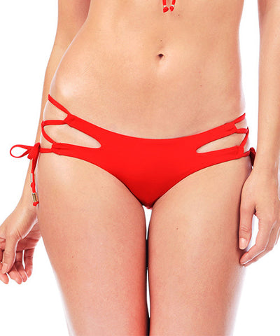 Voda Swim Cutout String Bikini Bottom in Scarlet