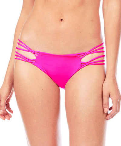 Voda Swim Macrame Bikini Bottom in Bright Pink
