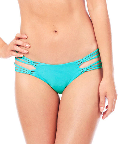 Voda Swim Macrame Bikini Bottom in Turquoise