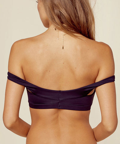 Blue Life Swim - Cold Shoulder Crop Bikini Top in Black