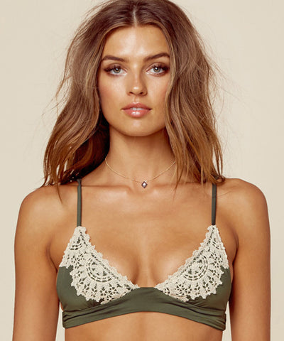 Blue Life Swim - Tribal Halter Crop Top in White Sands
