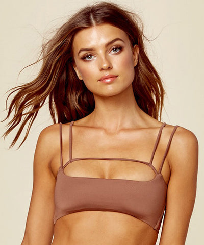 Blue Life Swim - Sunbeam Scoop Bikini Top in Cacao