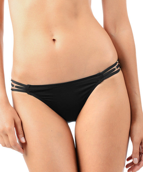 Voda Swim Three String Bikini Bottom in Black - Beachbliss Swimwear & Apparel - 1