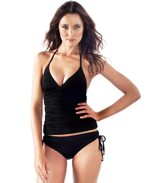 Voda Swim Envy Push Up Shirred Tankini Top in Black - Beachbliss Swimwear & Apparel - 5