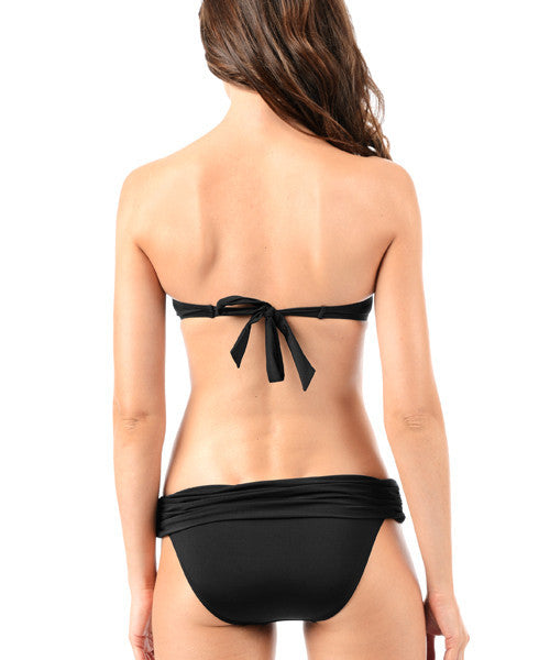 Voda Swim Envy Push Up Twist Bandeau Bikini Top in Black - Beachbliss Swimwear & Apparel - 5