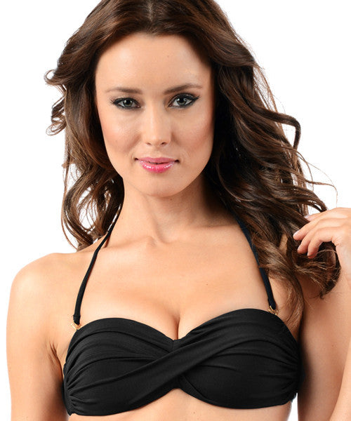 Voda Swim Envy Push Up Twist Bandeau Bikini Top in Black - Beachbliss Swimwear & Apparel - 3