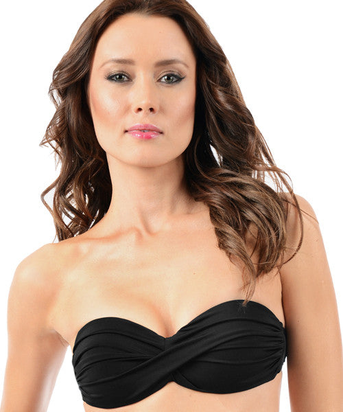 Voda Swim Envy Push Up Twist Bandeau Bikini Top in Black - Beachbliss Swimwear & Apparel - 1