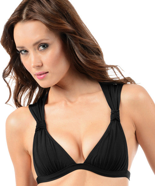 Voda Swim Envy Push Up Ruched Halter Top in Black - Beachbliss Swimwear & Apparel - 1