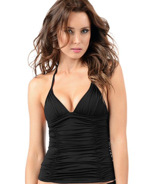 Voda Swim Envy Push Up Ruched Panel Tankini Top in Black - Beachbliss Swimwear & Apparel - 1