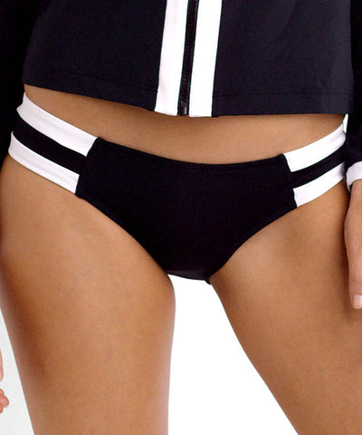 Seafolly - Block Party Spliced Hipster Bikini Bottom in Black - Beachbliss Swimwear & Apparel - 1