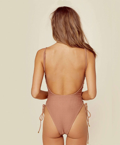 Blue Life Swim - Roped Up One Piece in Cacao