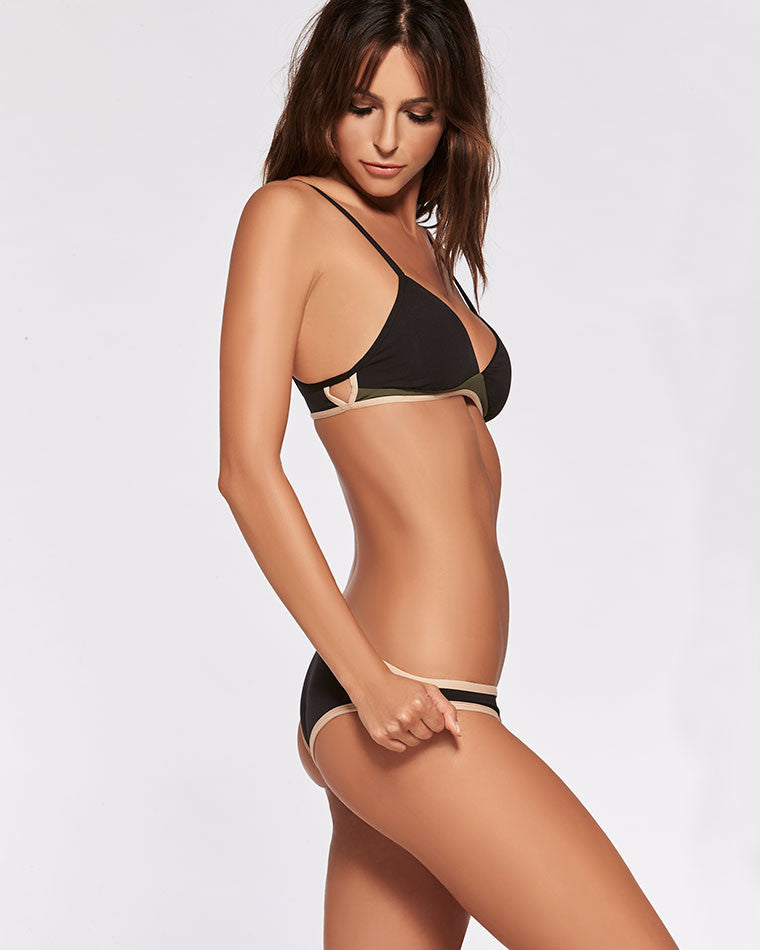 L*Space Color Block Cosmopolitan Classic Cut Bikini Bottom - Black - Beachbliss Swimwear & Apparel - 4