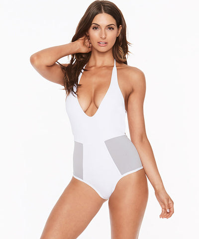 L*Space Color Block Fireside One Piece Swimsuit - White - Beachbliss Swimwear & Apparel - 1