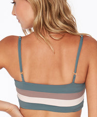 L*Space Color Block Rebel Stripe Bikini Top - Slated Glass