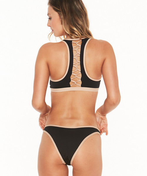 L*Space Color Block Whiplash Bitsy Bikini Bottom - Black/Skin