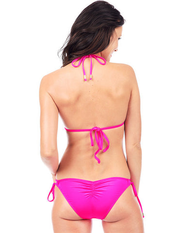 Voda Swim Envy Push Up Double String Bikini Top in Bright Pink