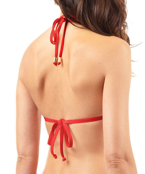 Voda Swim Envy Push Up Double String Bikini Top in Scarlet - Beachbliss Swimwear & Apparel - 2