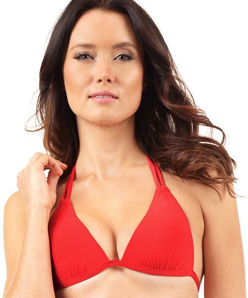 Voda Swim Envy Push Up Double String Bikini Top in Scarlet - Beachbliss Swimwear & Apparel - 1