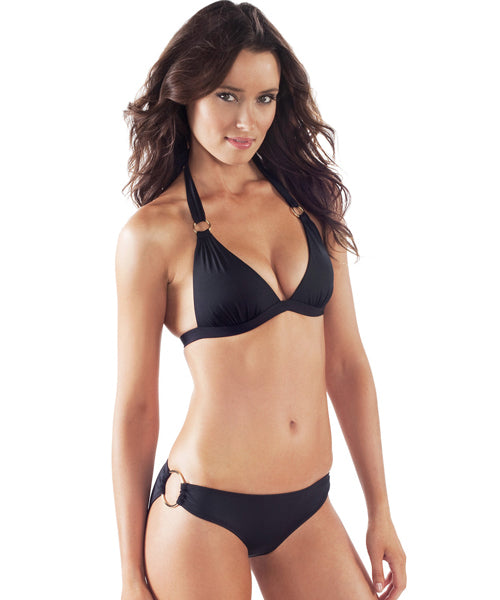 Voda Swim Envy Push Up Hoop Halter Bikini Top in Black - Beachbliss Swimwear & Apparel - 3