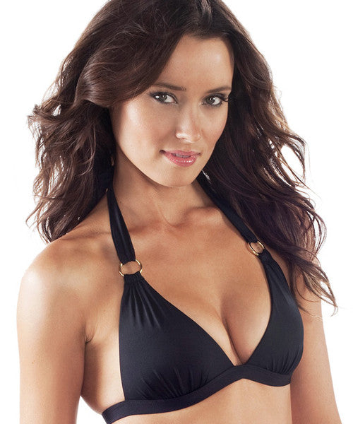 Voda Swim Envy Push Up Hoop Halter Bikini Top in Black - Beachbliss Swimwear & Apparel - 1