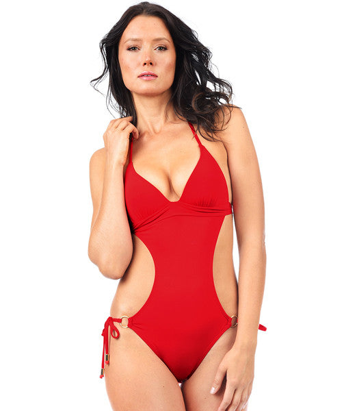 Voda Swim Envy Push Up Monokini One Piece in Scarlet - Beachbliss Swimwear & Apparel - 1