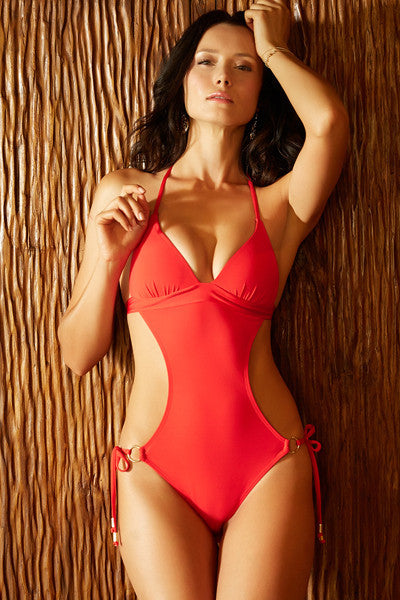 Voda Swim Envy Push Up Monokini One Piece in Scarlet - Beachbliss Swimwear & Apparel - 3