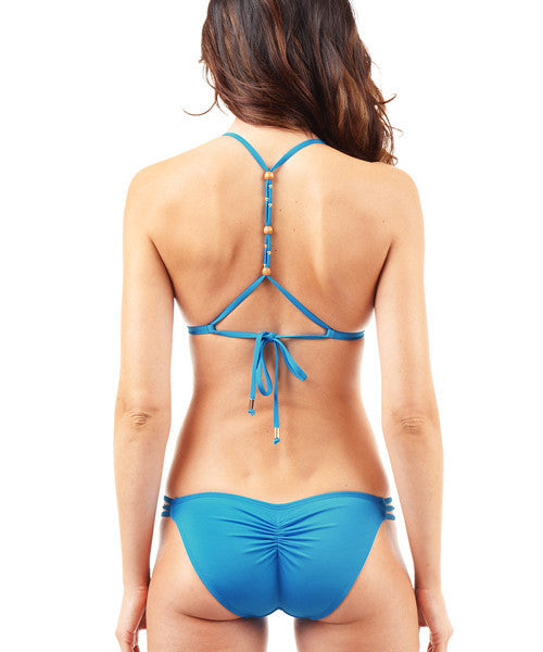 Voda Swim Envy Push Up Razor Back String Bikini Top in Cerulean - Beachbliss Swimwear & Apparel - 4