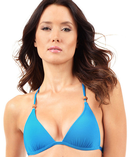 Voda Swim Envy Push Up Razor Back String Bikini Top in Cerulean - Beachbliss Swimwear & Apparel - 1