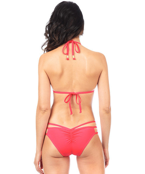 Voda Swim Envy Push Up Cutout String Bikini Top in Hot Coral - Beachbliss Swimwear & Apparel - 4